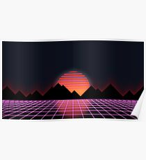 "80s Retro Grid & Rising Sun - ""Event Horizon"" Poster"