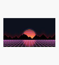 "80s Retro Grid & Rising Sun - ""Event Horizon"" Photographic Print"