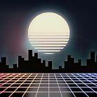 "80s Retro Grid & Full Moon - ""Rainbow Road"" by tallestrose"