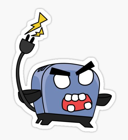 angry zombie toaster Glossy Sticker