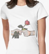 Red Rose Sketch Women's Fitted T-Shirt