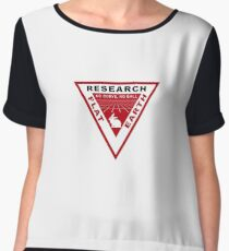 RESEARCH FLAT EARTH PERSPECTIVE GRID PATCH Chiffon Top