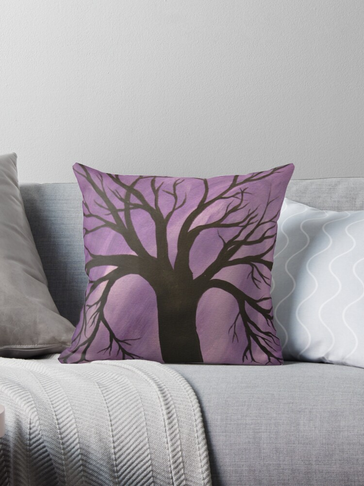 Nocturnal Silhouetted Tree Lavender Purple Sky   by Adri Turner