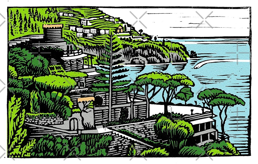 Linocut print of the Amalfi Coast by wonder-webb