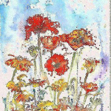 Mosaic poppies by milesdesignart