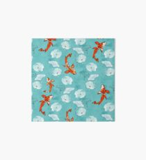 Waterlily koi in turquoise Art Board