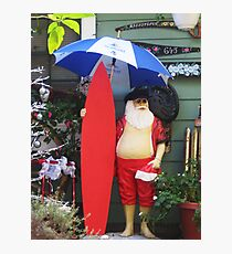Santa with Surfboard Ready for Rainstorm  Photographic Print