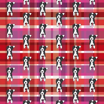Black and White Doodle - Red Purple Pink Tartan - Declan by SterreStudio