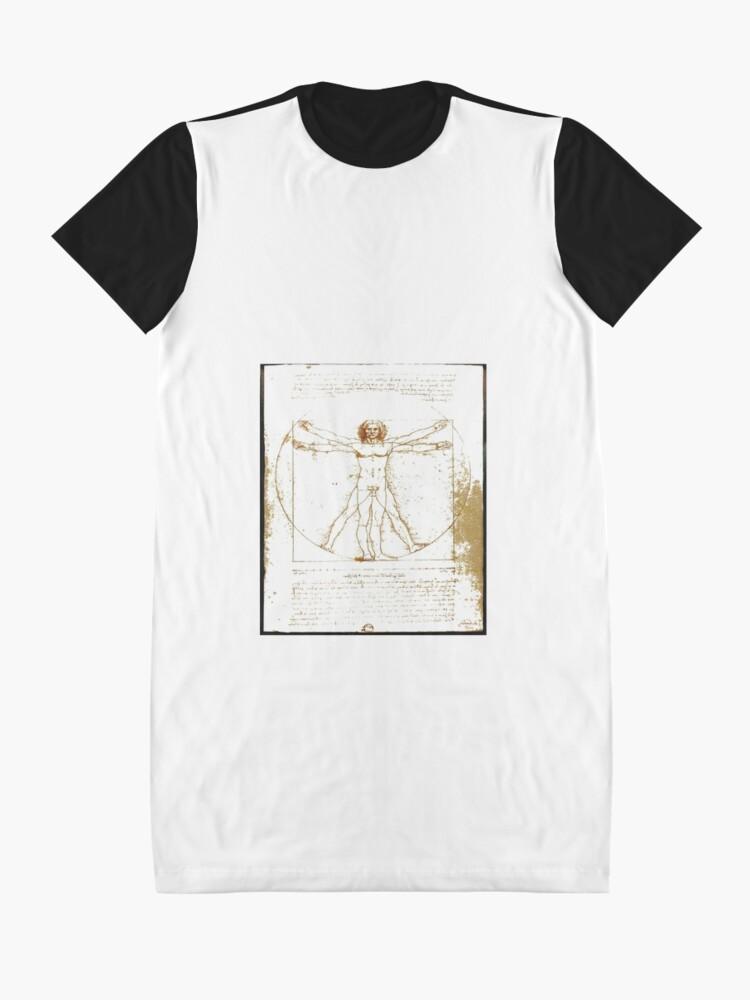 Alternate view of Vitruvian man, Naked man waving his arms and legs #NakedMan #LeonardodaVinci #VitruvianMan #Vitruvian Graphic T-Shirt Dress