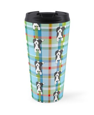 black and white doodle dog blue green red tartan declan travel