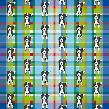 Black and White Doodle Dog - Blue Green Red Tartan - Declan by SterreStudio