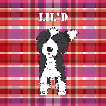 Black and White Doodle Dog - Red Purple Pink Tartan - Lil'D - Little Doodle by SterreStudio