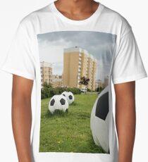 soccer balls on the cityscape Long T-Shirt