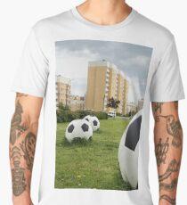 soccer balls on the cityscape Men's Premium T-Shirt
