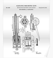 Machine gun Patent Drawing Blueprint Poster