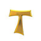 Golden 3-D Look Franciscan Tau Cross by Artist4God