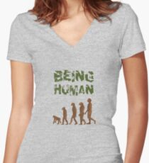 Being Human - Devolution Women's Fitted V-Neck T-Shirt