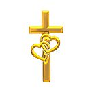 Golden 3-D Look Cross with Two Hearts by Artist4God