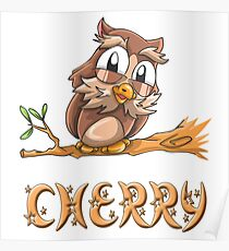 Cherry Owl Poster