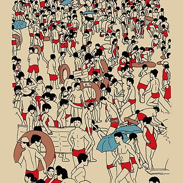 A crowded beach by lottejulia