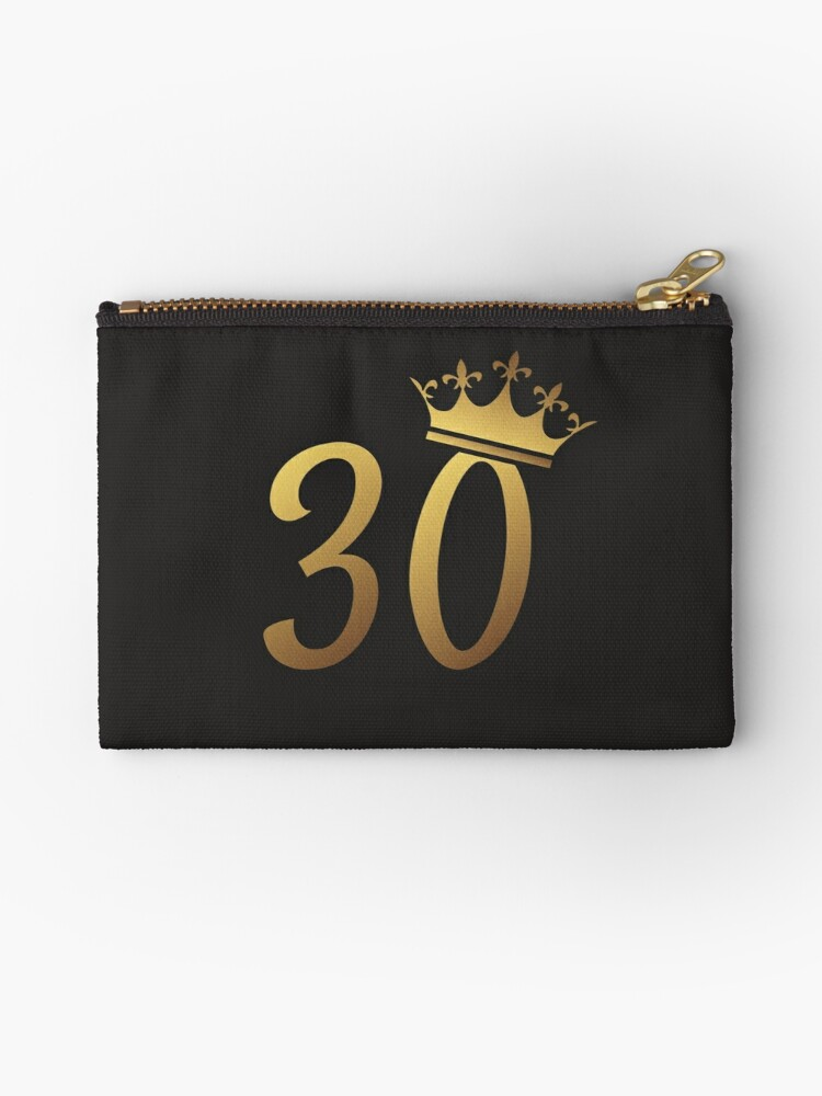 30th Birthday Queen 30 Year Old Girl Gold Party Gift Zipper Pouch