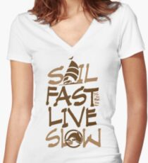 nautical Sail Fast vertical brown Women's Fitted V-Neck T-Shirt