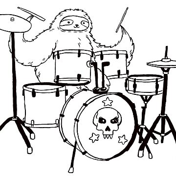 Black Line Drum Set Sloth by SaradaBoru
