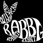 White on Black Rabbit Typography Word Art by Brandy Sinclair