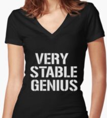 VERY STABLE GENIUS TRUMP SHIRT Women's Fitted V-Neck T-Shirt