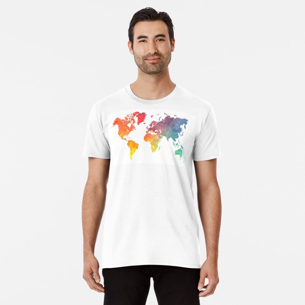 Karte der Welt gefärbt Premium T-Shirt