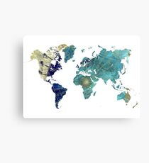 World map wind rose Canvas Print