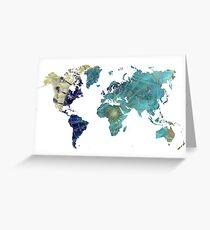 World map wind rose Greeting Card