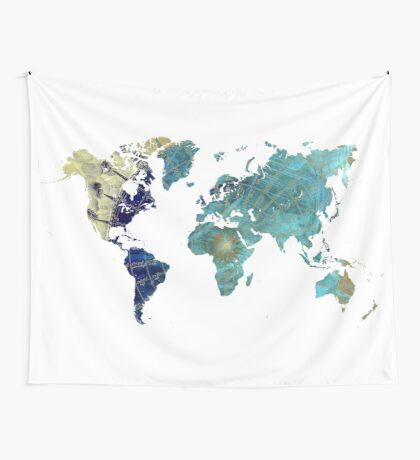 World map wind rose Wall Tapestry