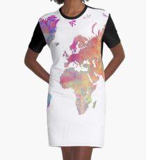 World Map Violet Graphic T-Shirt Dress