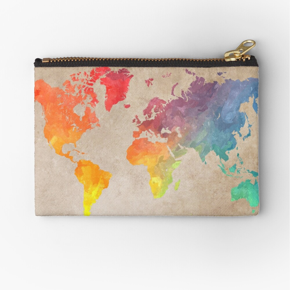 World Map maps Zipper Pouch