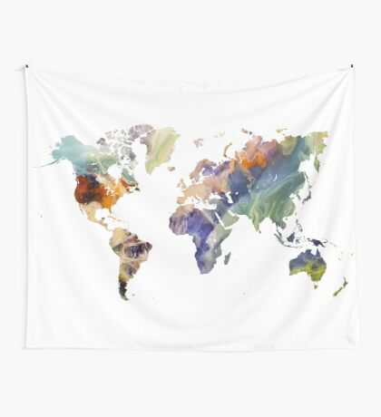 World Map watercolor painting Wall Tapestry