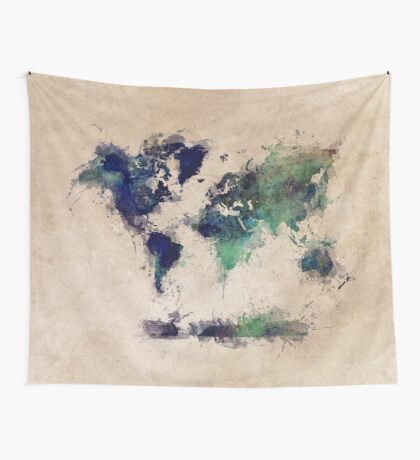 World map blue splash Wall Tapestry