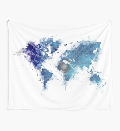 World Map Wind Rose splash Wall Tapestry