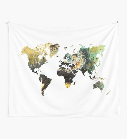 Map of the world time  Wall Tapestry
