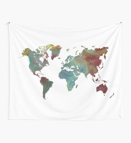 World Map after dark Wall Tapestry