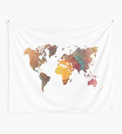 World Map fractal 1 Wall Tapestry