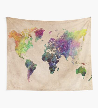 Watercolor world Map art Wall Tapestry