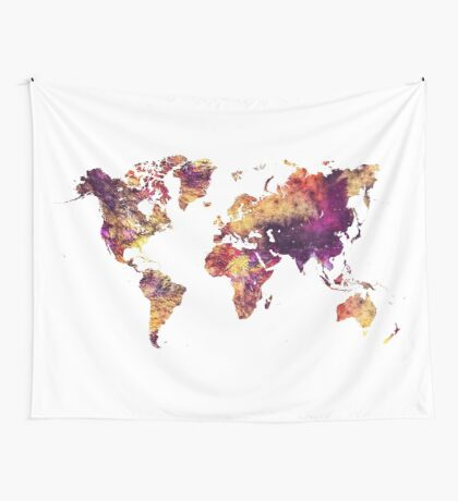 World Map purple Wall Tapestry