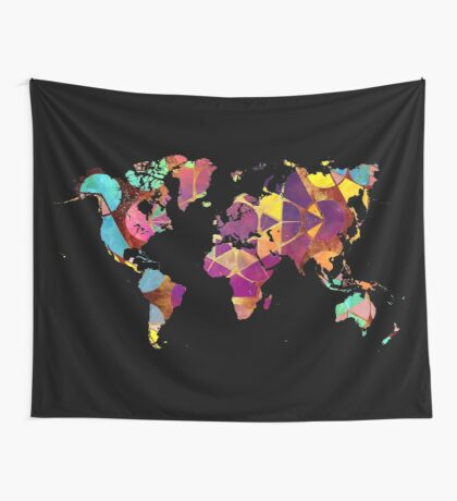 Map of the world geometric colored Wall Tapestry