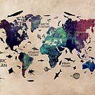 World Map Oceans by JBJart