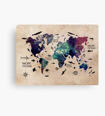 World Map Oceans Canvas Print