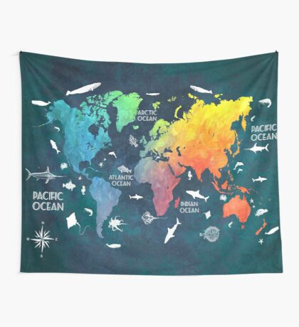 Oceans Life World Map colored Wall Tapestry