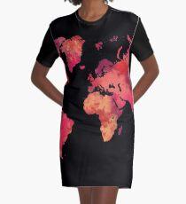 World map red Graphic T-Shirt Dress