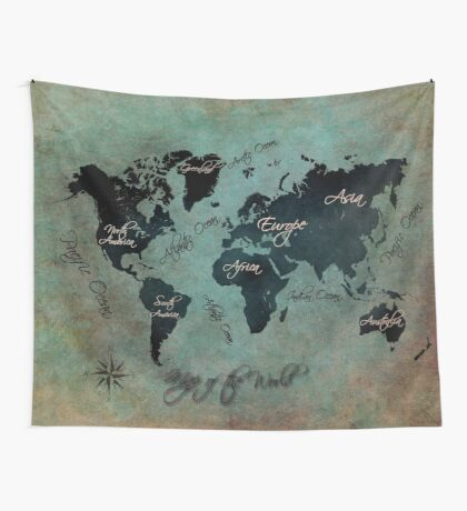 Map of the world  Wall Tapestry