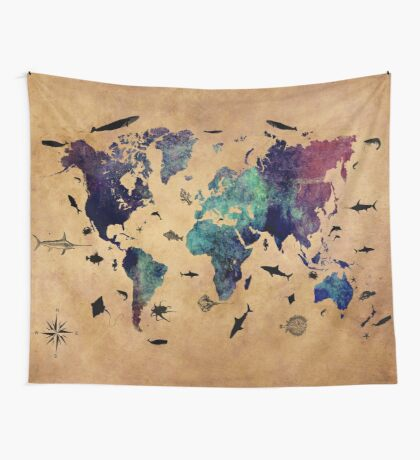 Map of the world atlas Wall Tapestry